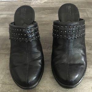 Born Black Leather Clogs with Studded Fringe